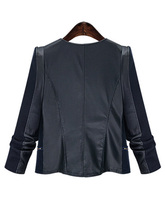 Plus Size Zipper Faux Leather Patchwork Jacket for Women