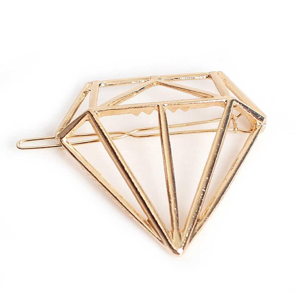 Fashion Alloy Diamond Bentuk 1 Pcs Rambut Aksesoris Jepit Rambut Sederhana Sisi Klip Besar Kata Klip Jepit Rambut untuk Wanita