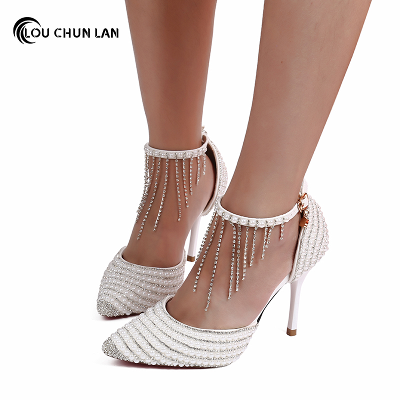 LOUCHUNLAN Women Shoes Pumps Crystal Tassel Bracelet Wedding Shoes White Pearl Wedding Shoes Pointed Toe Thin Heels Sandals