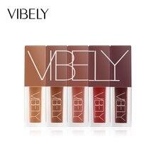 5pcs/Set Lip Gloss Makeup Kit Lipstick Solid Matte Velvet Brown Pigment Liquid Cosmetic