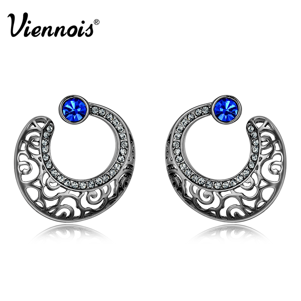 Viennois Light Gun Color Annular Stud Earrings for Woman Rhinestone Hollow Out Female Retro Earrings Brand Vintage Jewelry