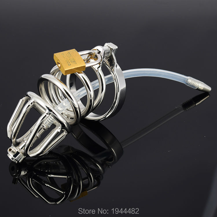 Фото Stainless Steel Urethral Chastity Device Male Chastity Belt Penis Plug Urethral Sounding Catheter Cock Rings Cock Cage With Lock