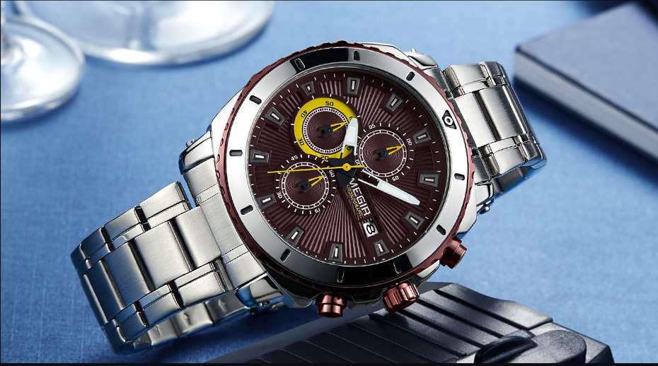 Topdudes.com - MEGIR Luxury Chronograph Quartz Stainless Steel Business Wrist Watch