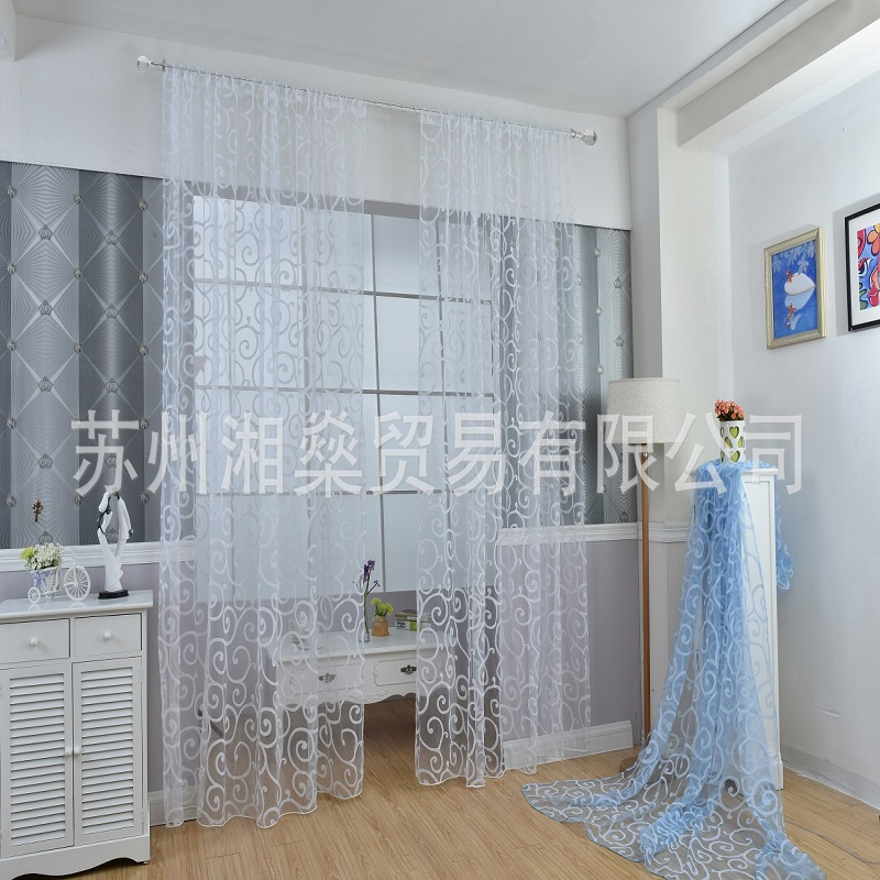 Home textiles European large hooks flocking curtains screens Cheap wholesale discounts Customized processing in Curtains from Home Garden
