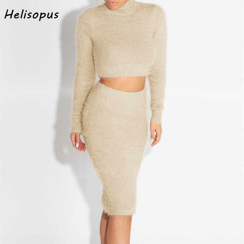 7cd578751 Fashion Autumn Winter Fluffy Set Women Long Sleeve Fleece Crop Top Pencil Skirt  Warm Pullover Bodycon