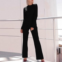 2 pcs/Set Autumn Fashion Women Sweater Suit Sets Rib Knitted Sweaters Pants Women Solid Long Sleeve Tops+Trousers Clothing Set
