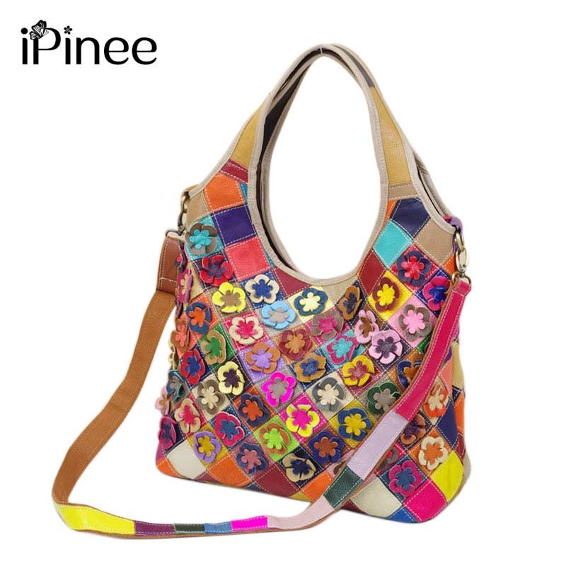 купить iPinee Genuine Leather Women Bag Fashion Flower Women Handbag Famous Brand Bag Casual Women Messenger Bag по цене 3260.48 рублей