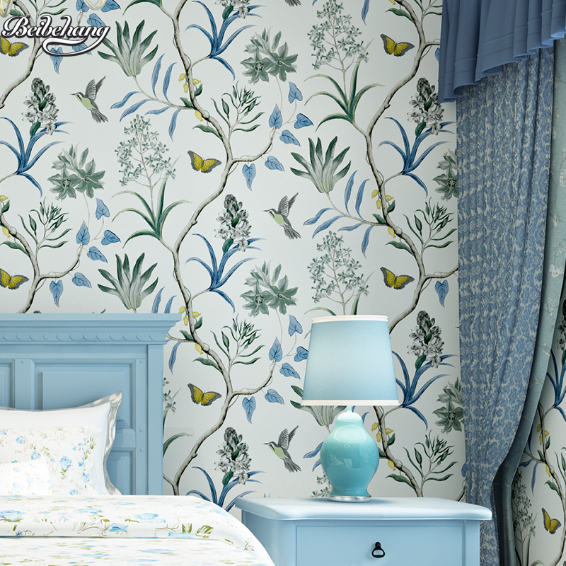 beibehang American rural garden flowers and birds high - grade non - woven wallpaper bedroom living room hotel flowers wallpaper the hermitage birds and flowers