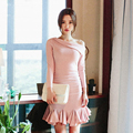 Elegant Pink Party Dress Korean Ladies Oblique Shoulder Ruffle Hem Trumpet Dress Long Sleeve Short Bodycon Dress Vestido