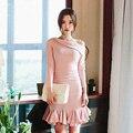 Rosa elegante da Festa de Vestido Coreano Senhoras Ombro Oblíquo Plissado Hem Trumpet Vestido Longo de Manga Curta Bodycon Vestido Vestido