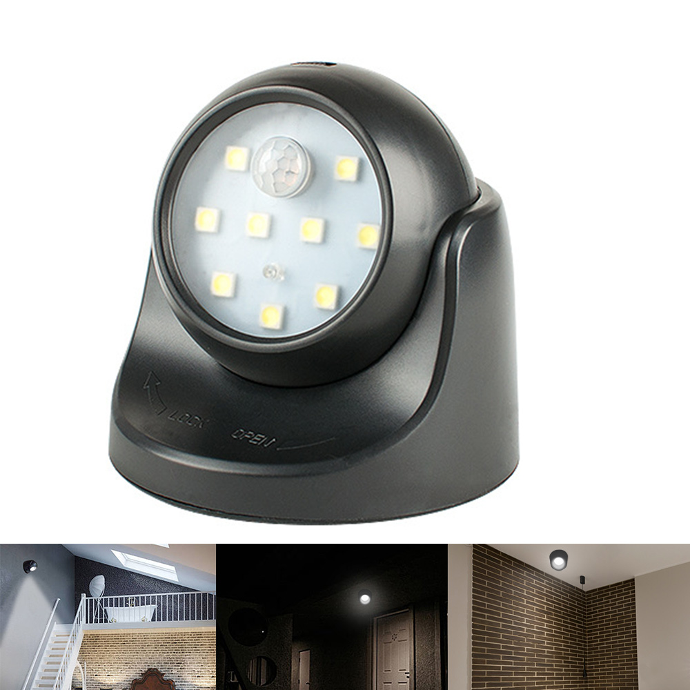 1pc 9 Led PIR Motion Sensor Night Light 360° Auto On/Off Rotation Wireless Detector Night Light For Indoor Garden Patio Pathway
