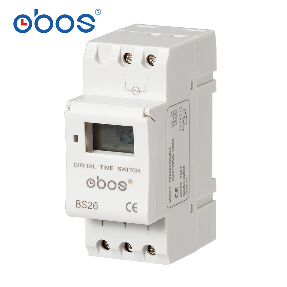 Best-selling 7-day programmable digital time switch <font><b>relay</b></font> timer control AC <font><b>220V</b></font> 240V 110V DC12V <font><b>24V</b></font> 16A DIN rail mounting BS26 image