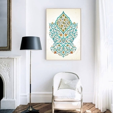 Arabic Islam Calligraphy Almighty Allah Mosque Pictures Muslim Canvas Painting Poster ,Turquoise Floral Print Islamic Decoration