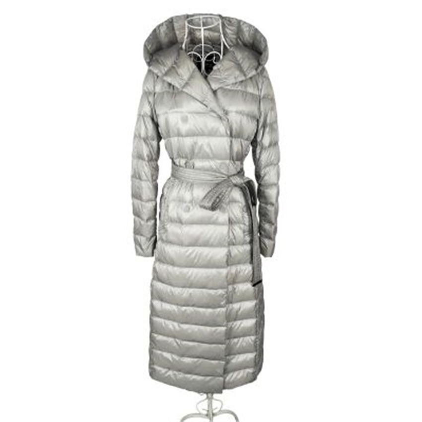 Women Light Thin   Down   Jacket Long   Down     Coat   Plus Size Lady White Duck   Down   Jacket Hooded   Coats   Slim Female Winter Jackets WZ543