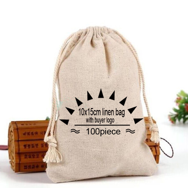 Personalized logo Linen bag 10x15cm 4 x6 pack of 100 Jute Drawstring pouch with buyer design