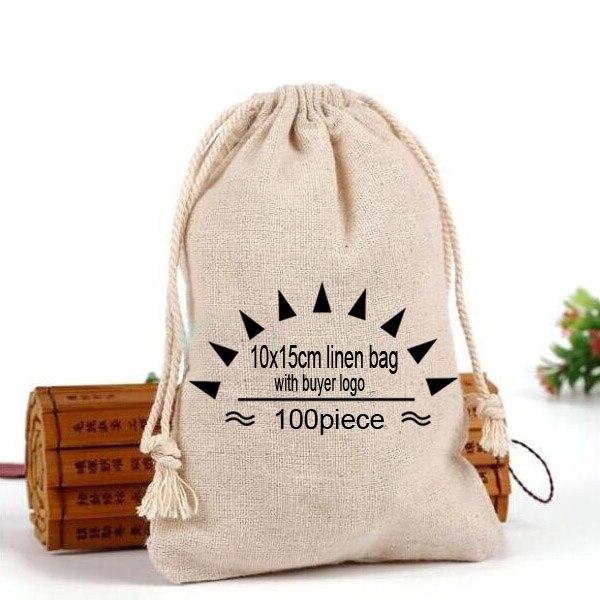 """Takı ve Aksesuarları'ten Takı Ambalajlama ve Sergileme'de Kişiselleştirilmiş logo keten çanta 10x15cm (4 """"x 6"""") 100 paket jüt büzgülü torba alıcı ile tasarım düğün çuval'da  Grup 1"""