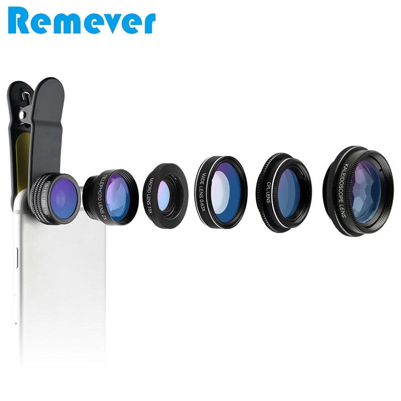 Universal 6 in 1 Mobile Phone Lens 0.63X Wide angle Macro Fisheye Lens for iPhone Samsung Xiaomi almost all Smartphones lenses