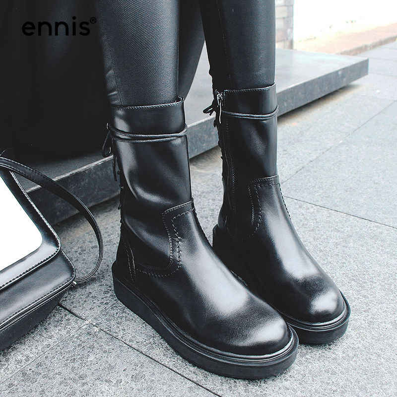 aca000115584 ... ENNIS 2018 British Motorcycle Boots Women Shoes Genuine Leather  Platform Boots Flat Back Lace Up Boots