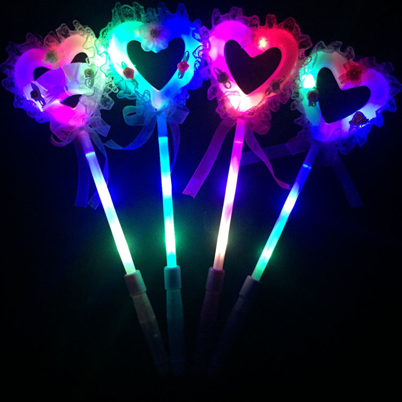 Novelty Love Heart Led Glowing Flashing Sticks Children Blinking Fairy Wands Wedding Birthday Party Favor Gift Halloween Costumes & Accessories Novelty & Special Use