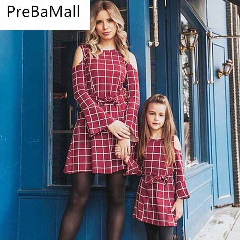 2019 Family Look Mother Daughter Dresses Matching Clothes Plaid Long Sleeve Mom and Vestidos C69