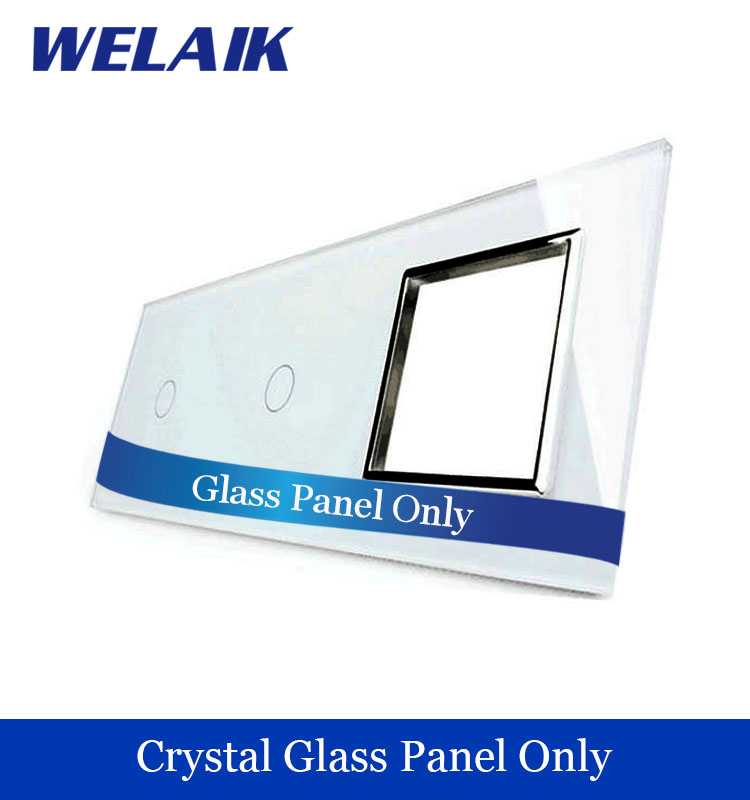 WELAIK  Touch Switch DIY Parts  Glass Panel Only of Wall Light Switch Black White Crystal Glass Panel Square hole  A39118W/B1 welaik crystal glass panel switch white wall switch eu remote control touch switch light switch 1gang2way ac110 250v a1914xw b