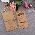 100 pcs Marrom Convite Elegante Do Casamento Cartões Kraft Cartões de Papel 18x10 cm Cartão com Envelopes de Evento Fontes do partido