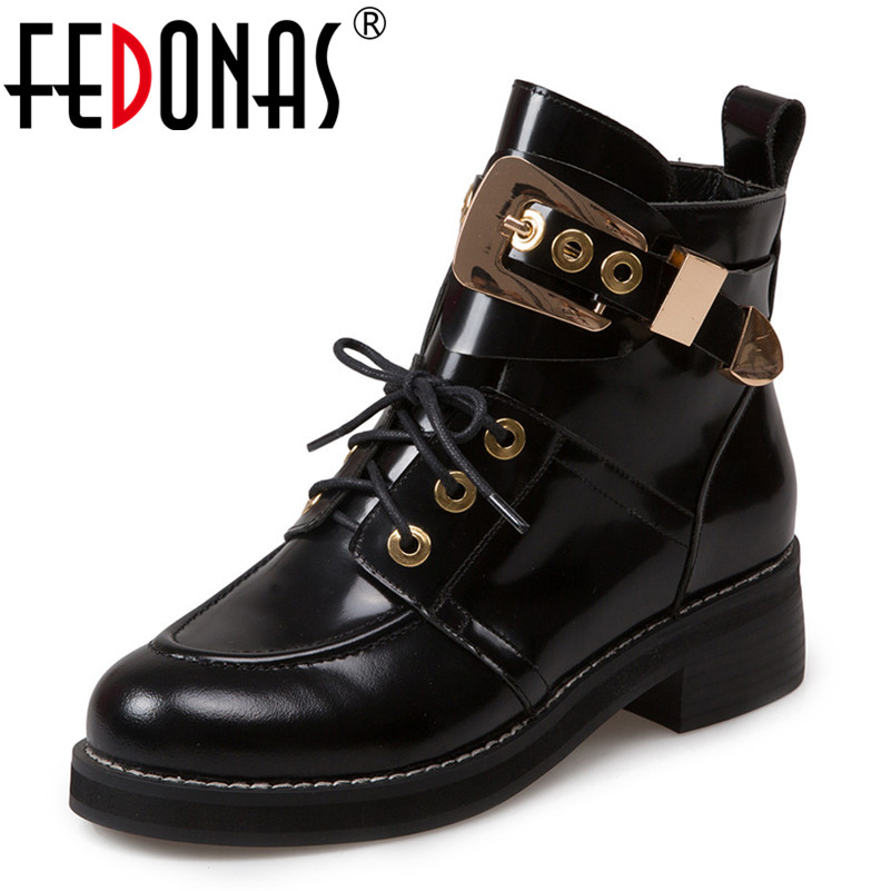 FEDONAS Brand Women Ankle Boots Punk High Heels Metal Decoration Party Night Club Boots Genuine Leather Martin Shoes Woman fedonas brand women ankle boots punk high heels metal decoration party night club boots genuine leather martin shoes woman