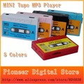 New Arrival Hot Sale  5 colors high quality MINI Tape MP3 Player support Micro SD(TF) card Free shipping