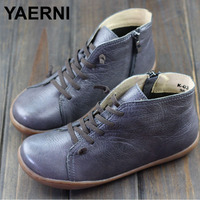 YAERNI 35 42 Boots Women Shoes Hand Made Genuine Leather Ankle Boots For Women Square Toe