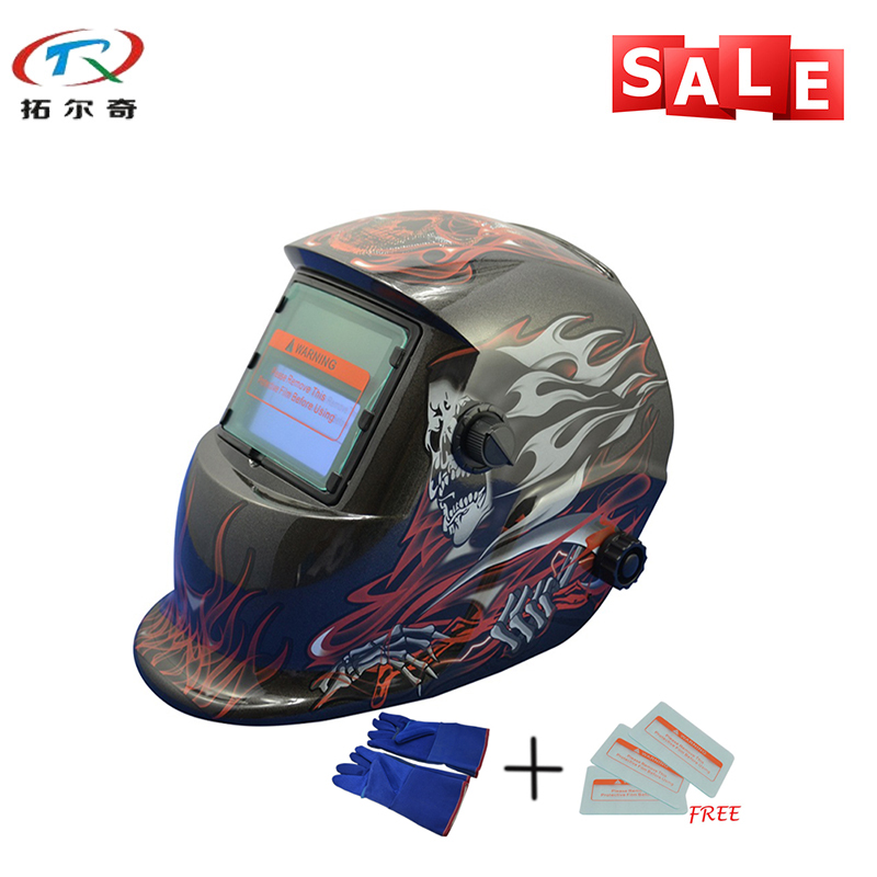 Mig Tig Arc Protective Mask Long Warranty Skull Fire Printing Electronic Custom TIG ARC Welding Helmet Mask TRQ-HD09-2233FF-BG