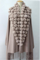 fur ball shawl Big wool thickening autumn and winter female cape ,women natural rabbit hair ball scarves F152