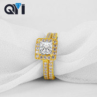QYI 14K Solid Yellow Gold 2 Pcs Wedding Ring Set Classic Jewelry Round Shape 5A CZ Engagement Rings For Women Jewelry
