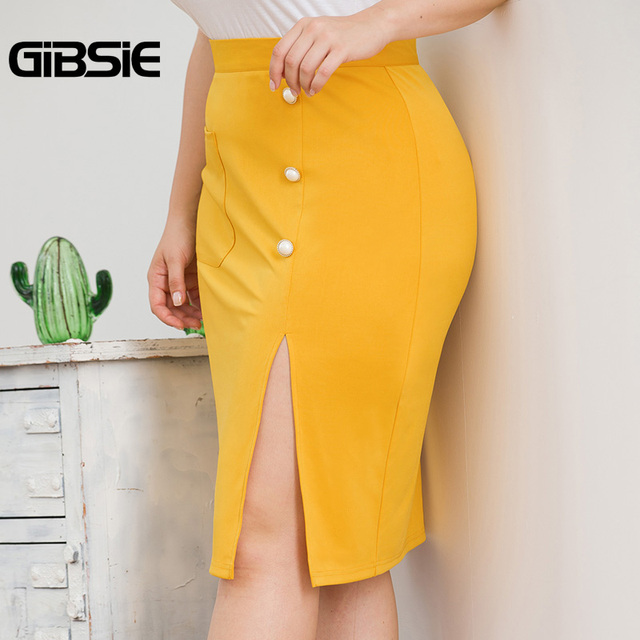 GIBSIE Plus Size Solid Elegant Pocket Side Button Women Skirt Knee-Length Bodycon Split Skirt Office Lady High Waist Midi Skirts 3
