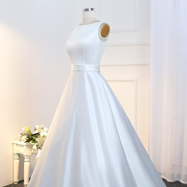 Online Shop Real Vestido Novia Vintage A-line Satin Wedding Gowns ...