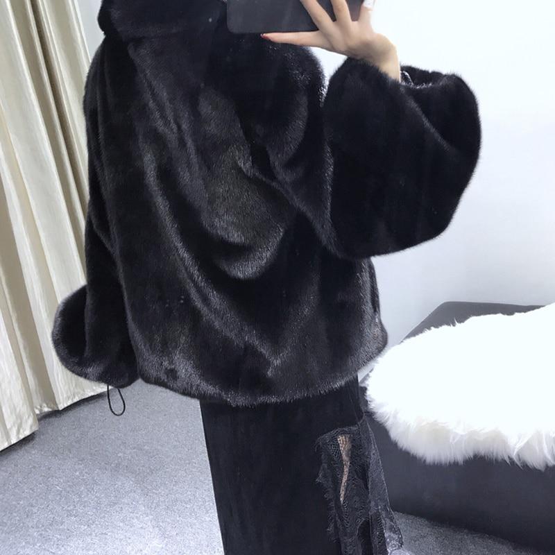 Manteau Femmes Col Lanterne Noir Winter2017 Complet Plein De Court Manches Manteaux Lvchi Vison Perte Fourrure Rabattu Pelt Causal U0qwxS