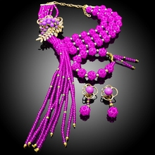 2017 rose red ball flower crystal fashion  sets fashion imitation hot sell alloy jewelry set costume alloy jewelry set