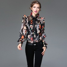 XL!Top Quality New Fashion Blouses 2017 Spring Summer Women Bow Collar Elegant Print Long Sleeve Silk Chiffon Shirt Blouses OL