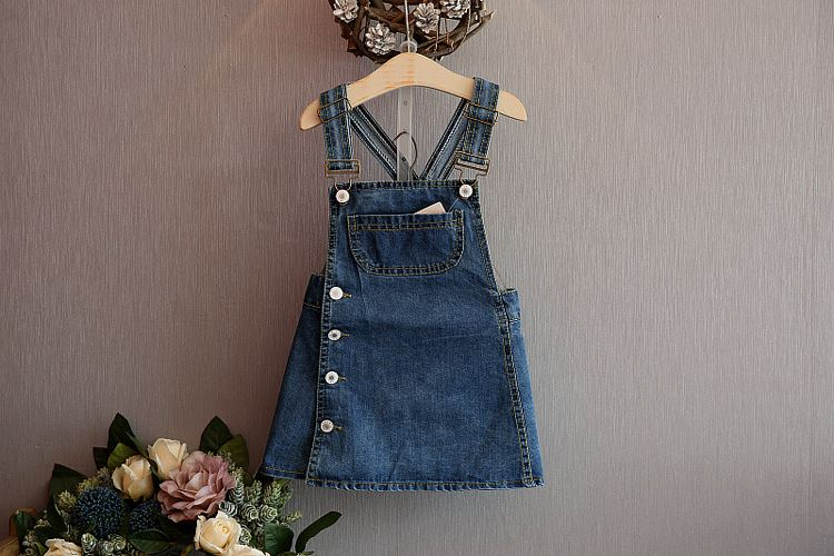 New Arrival  Spring Summer Baby Girls Denim Sundress Girls Suspender Denim Dress Kids Cute  Sundress  Jean dress HB1219 shuzhi summer baby girls dress denim sundress girls suspender denim dresses kids cute rabbit embroidery sundress