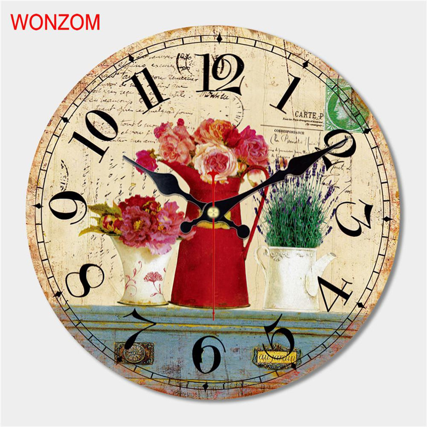WONZOM Beautiful Flower Design Large Wall Clock Silent
