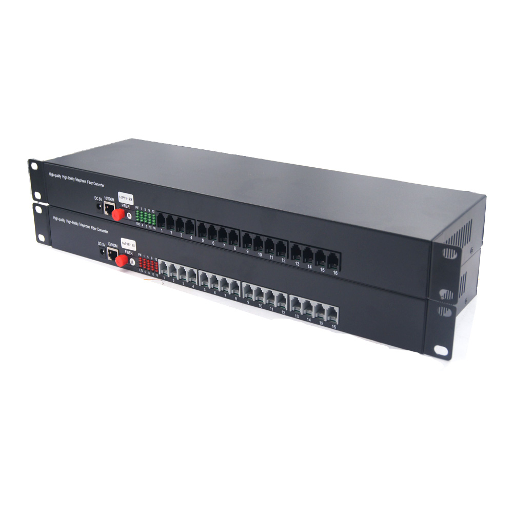 PREMIUM 16 Channels PCM Voice Telephone Over Fiber Optic Media Converters With 10/100 Mbps Ethernet FC Singlemode Fiber 20Km