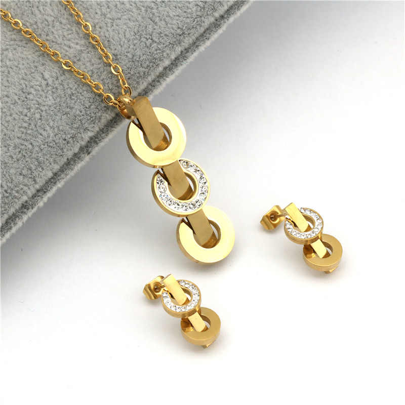 pz stainless steel jewelry Sets For Women Girls Necklace Earrings Wedding Crystal Jewelry set