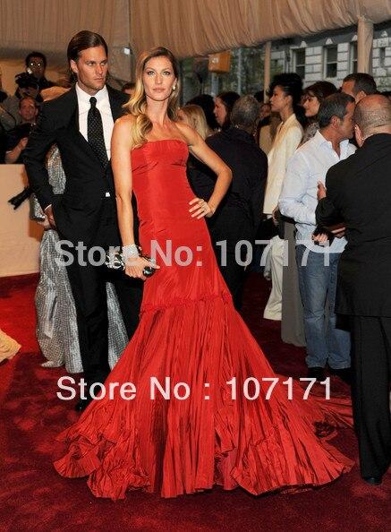 Жизель бундхен без бретелек длинным шлейфом плиссированные тафты красного вечернее платье платье знаменитости
