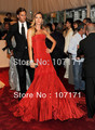 Gisele Bundchen Strapless Long Train Pleated Taffeta Red Evening Dress Celebrity Dress Formal Gown