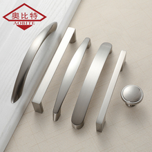 AOBT Kitchen Cabinet Handles Knobs Brushed Nickel 96mm 128mm 160mm Furniture Handle for Drawer Pulls Aluminum Alloy 773