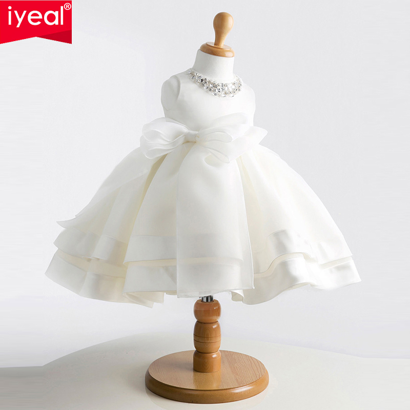 IYEAL Brand New Girls Pageant Dresses For Baby Children Princess Flower girl Dresses Kids Formal Wedding Party Christening Gown diy earphone snakeskin lines