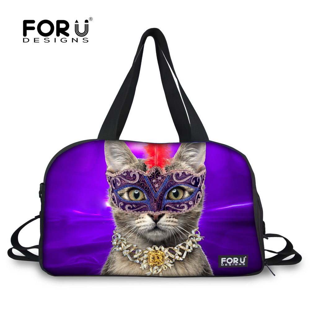 HOT Kitty Cat Prints Canvas Travel Duffle Bags for Women Luggage Shoulder Bags Candy color Shopping Large Capacity Bags