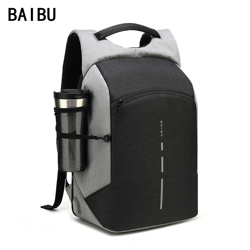 Baibu Men Multifunction Backpack Anti-theft Waterproof Design Laptop Backpack Student Boy School Bags For Teenagers Travel Bag