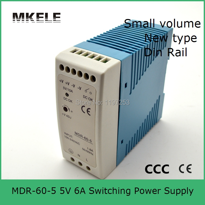 low cost fast delivery DIN RAIL switch power supply 5v 12a MDR-60-5 50w 5v 10a din mounting small size thin size simple low cost electronics projects