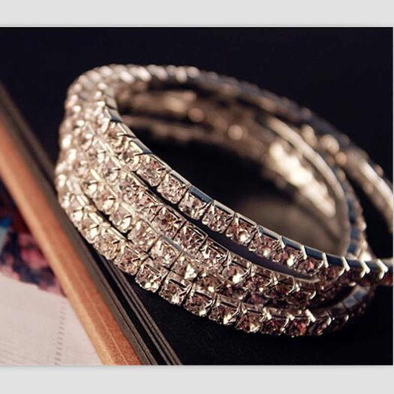 Free Shipping 2017 Fashion Jewelry Vintage Single Elastic Bracelet Charms Rhinestone Bangle