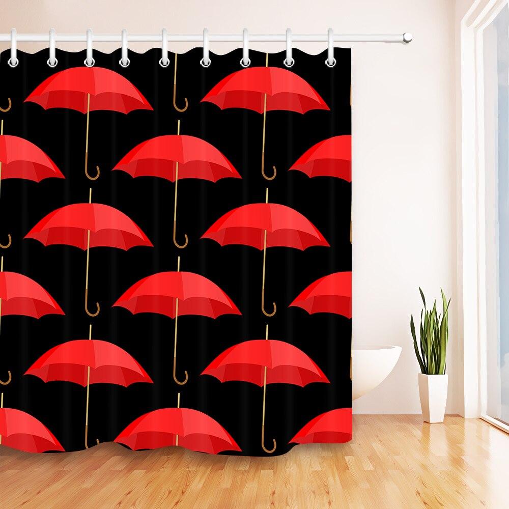 € 12.97 38% de réduction|LB 72 \'\'rouge parapluies noir personnalisé rideaux  de douche salle de bain rideau imperméable lavable Polyester tissu pour ...